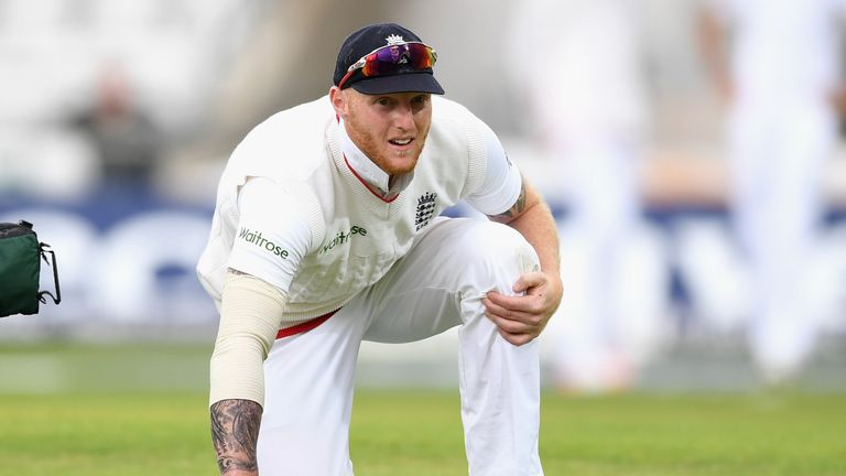 Ben Stokes of England feels at his knee during day two of the first Investec Test match at Headingley