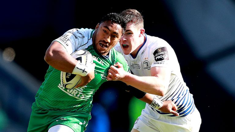 Connacht's Bundee Aki takes on Leinster's  Garry Ringrose