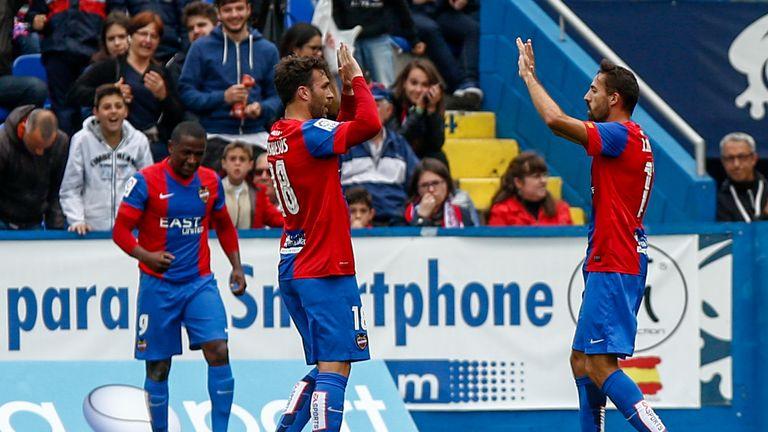 Victor Casadesus celebrates his goal against Atletico Madrid