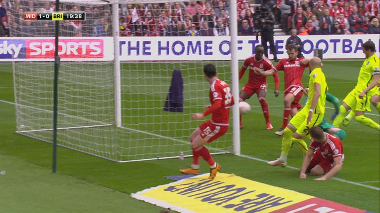Stuani opens the scoring for Middlesbrough in the promotion showdown at the Riverside