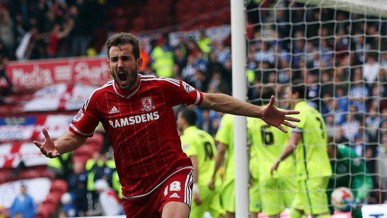 Cristhian Stuani of Middlesbrough celebrates the opening goal