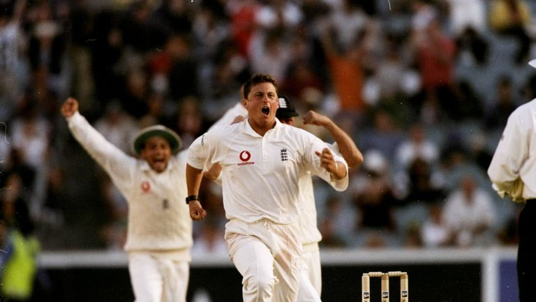 Darren Gough celebrates as England win the fourth Ashes Test against Australia at the MCG in 1998