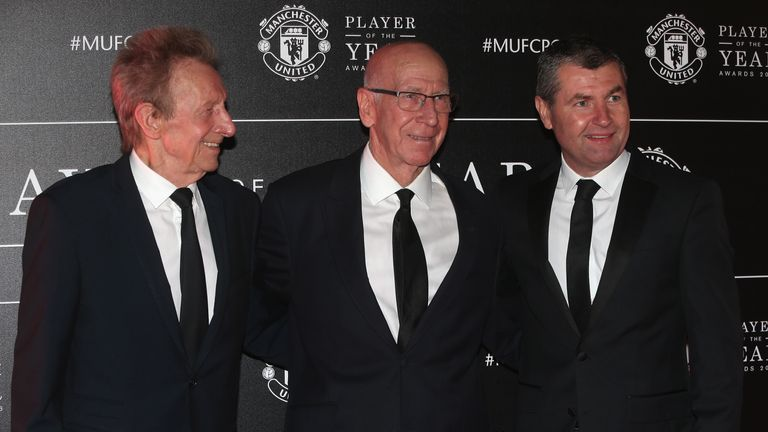 Manchester United legends Denis Law, Sir Bobby Charlton and Denis Irwin