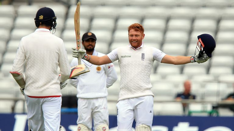 Jonny Bairstow celebrates reaching his century on day two of the first Test