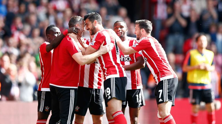 Pelle celebrated Southampton's second goal by celebrating with Kelvin Davis