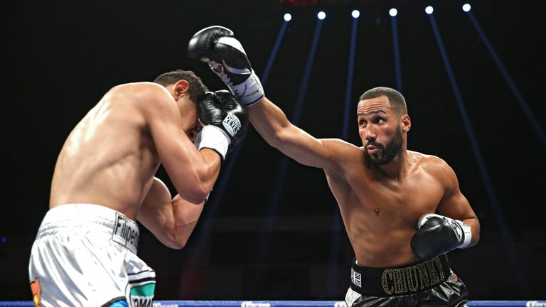 James DeGale (right) exchanges punches with Rogelio Medina