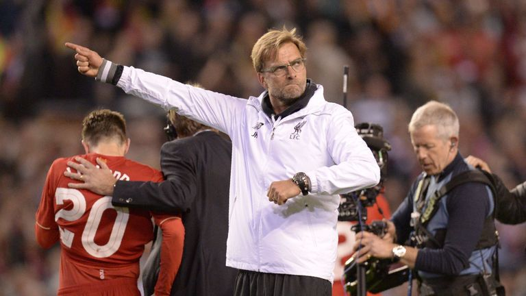 Liverpool manager Jurgen Klopp celebrates after the final whistle