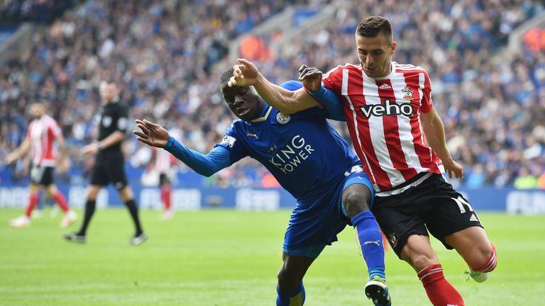 Kante muscles Southampton midfielder Dusan Tadic off the ball