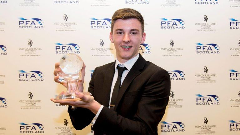 Celtic left-back Kieran Tierney was named Young Player of the Year for the 2015/16 campaign