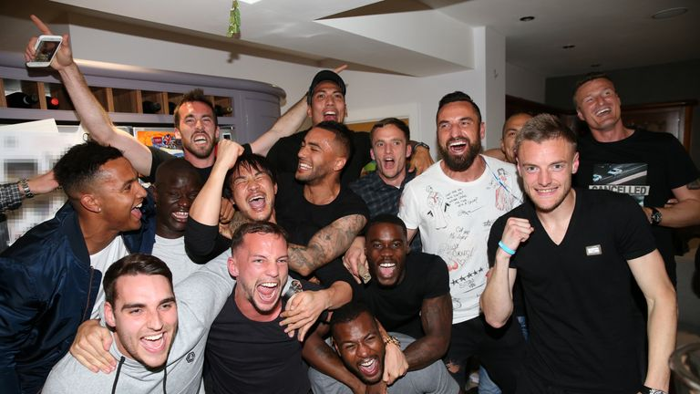 Jamie Vardy and his Leicester City team-mates celebrate the club's Premier League title success
