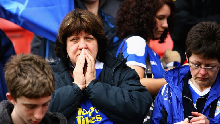 Leicester supporters show their dejection after being relegated to League One