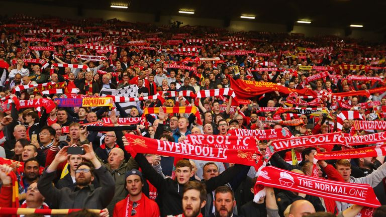 Liverpool fans show their support before the game at Anfield
