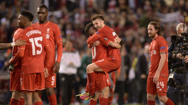Liverpool celebrate reaching the Europa League final after victory at Anfield
