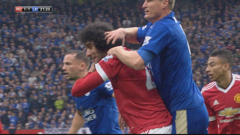 Fellaini appeared to deliberately swing an elbow at Huth at a corner