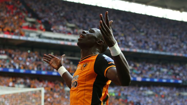 Hull City's Mohamed Diame celebrates scoring during the Championship play-off final win