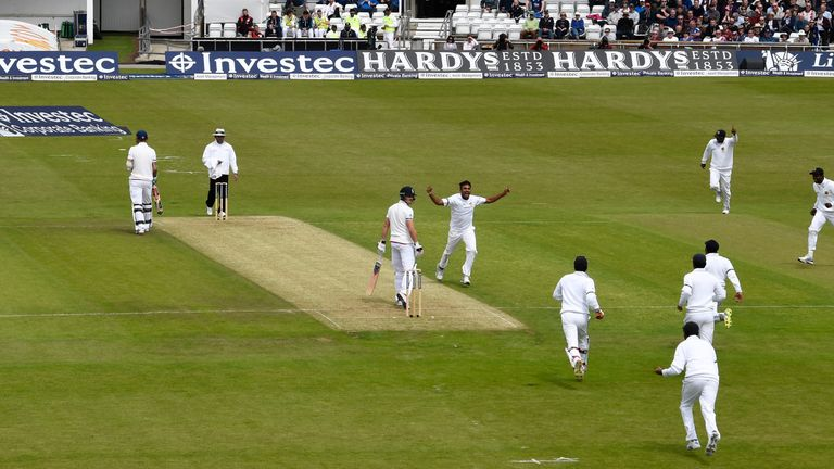 Nick Compton looks back after being caught at slip off Dasun Shanaka for a duck