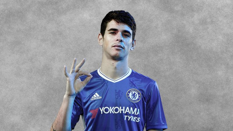 Oscar shows off the new Chelsea kit for next season