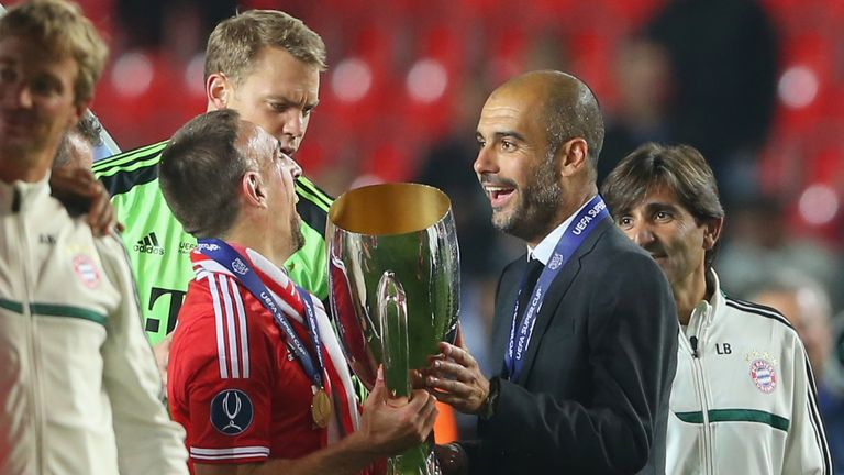 Guardiola enjoys the moment with Franck Ribery and the UEFA Super Cup