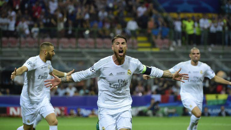 Sergio Ramos celebrates scoring the opening goal