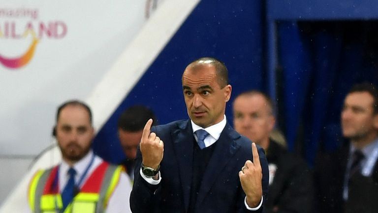 Everton boss Roberto Martinez watched his side lose at Leicester