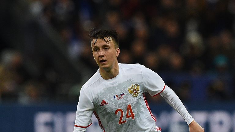 Russia midfielder Aleksandr Golovin is highly rated by manager Leonid Slutsky