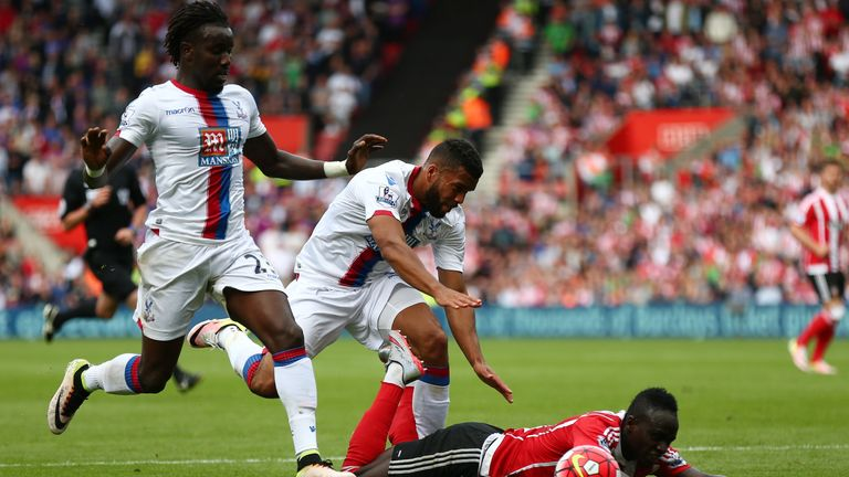 Sadio Mane won Southampton a penalty after being brought down by Pape Souare and Adrian Mariappa