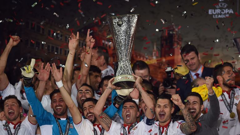 Sevilla celebrate winning a record-breaking fifth Europa League crown after a 3-1 win over Liverpool at St Jakob-Park in Basel in May