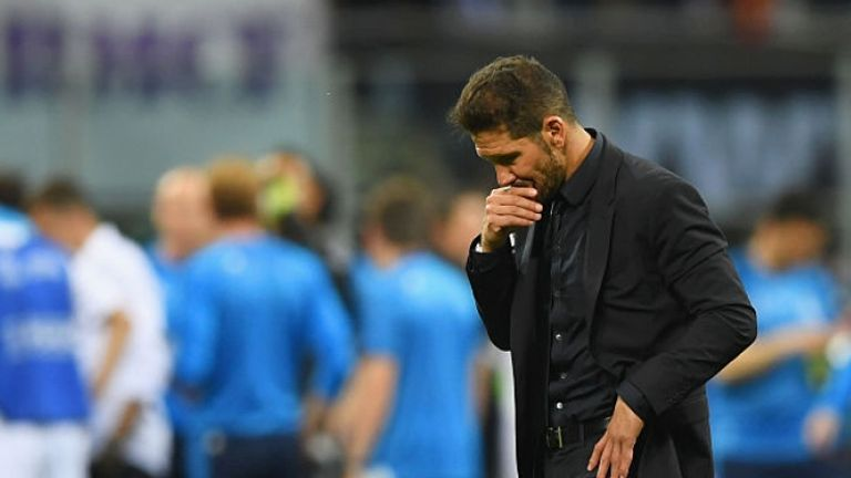 Simeone shows his anguish after watching Atletico lose to Real in the Champions League final