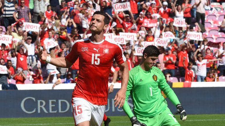 Blerim Dzemaili celebrates putting Switzerland ahead