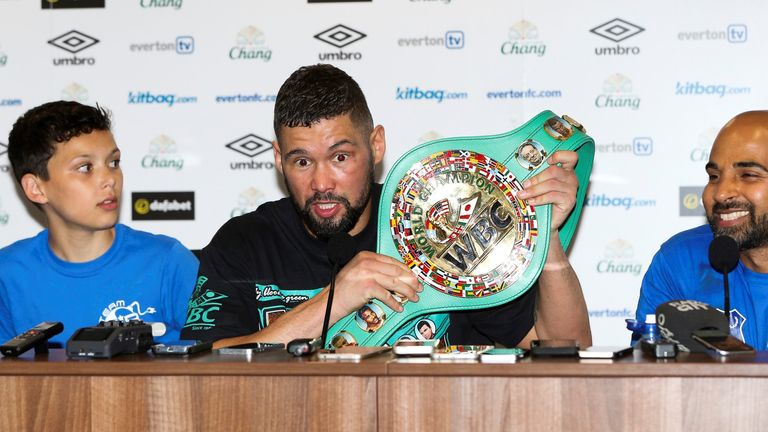 Tony Bellew shows off his new WBC world title belt