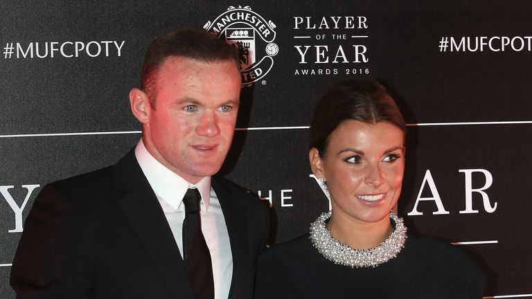 Wayne Rooney of Manchester United arrived with his wife Coleen Rooney at the club's awards night at Old Trafford