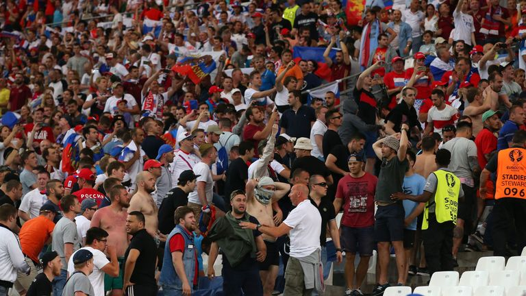 England fans were charged by groups of Russians inside the stadium