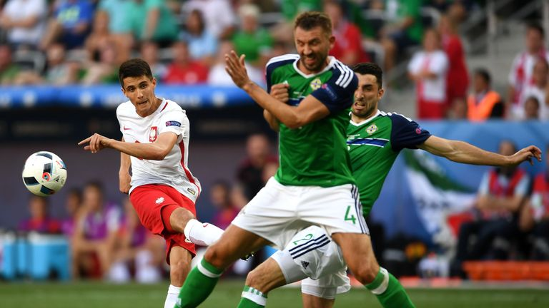 Kapustka (left) played a starring role in Euro 2016 against Northern Ireland