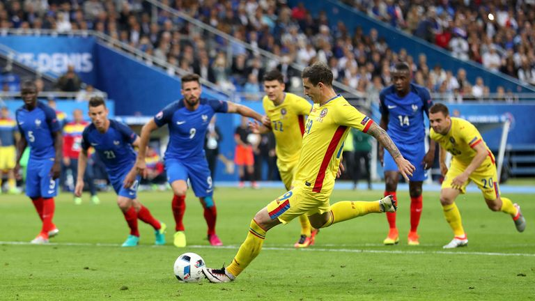 Romania's Bogdan Stancu levelled for his nation from the penalty spot