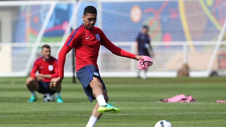 Smalling takes part in an England training session this week