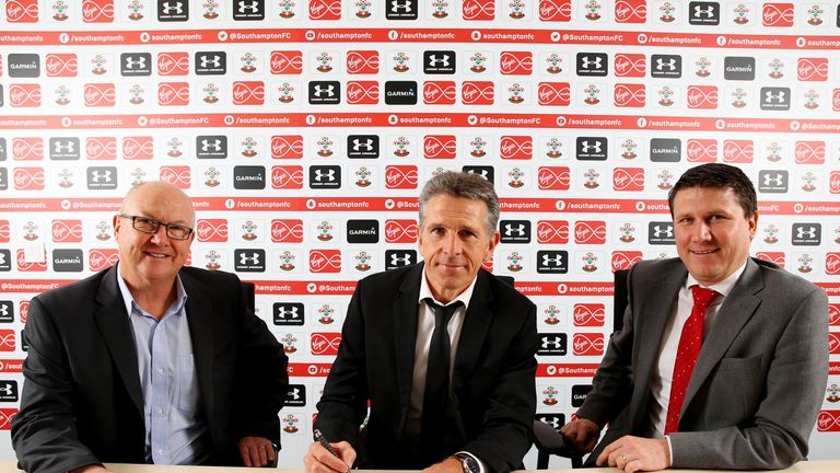 Puel with Saints executive director of football Les Reed (left) and chief executive Gareth Rogers (picture: Southampton Football Club)