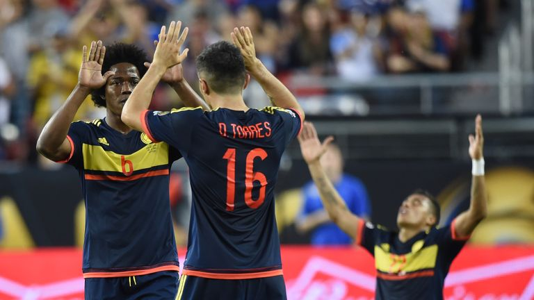 Colombia players celebrate after beating USA
