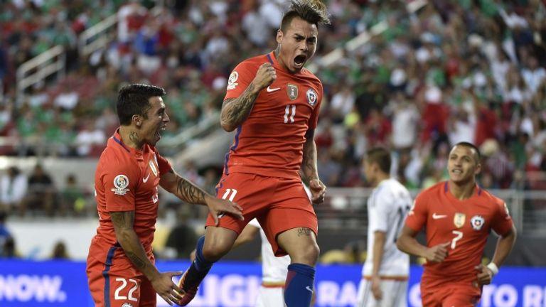 Eduardo Vargas celebrates scoring for Chile