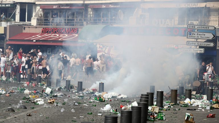 Police used tear gas and a water cannon in an attempt to quell the violence