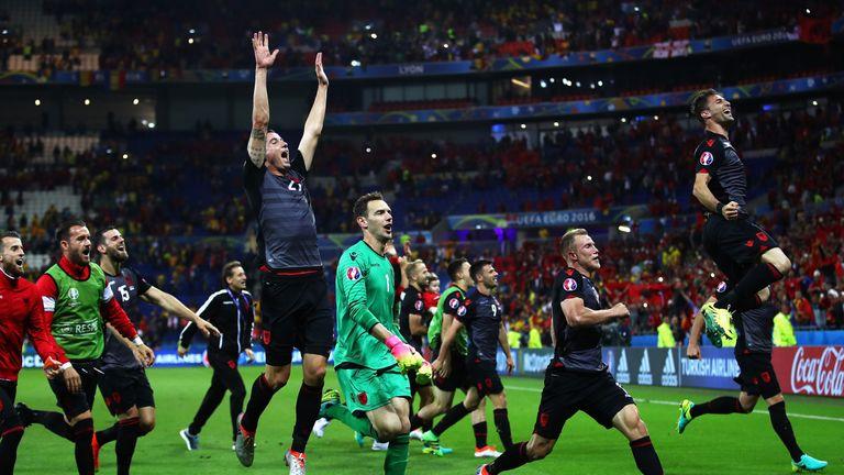 Albania players celebate their 1-0 win over Romania
