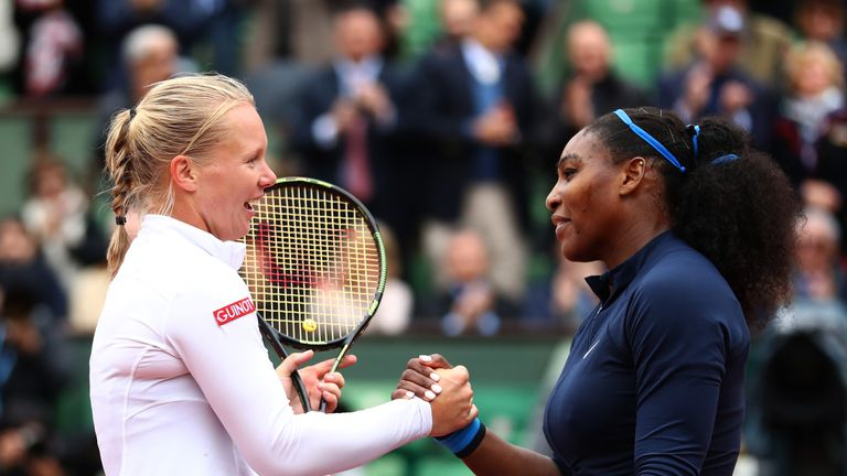 Serena Williams defeated Kiki Bertens (left) in the semi-finals of the French Open last year