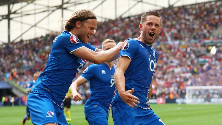 Gylfi Sigurdsson celebrates his goal in Iceland's 1-1 draw with Hungary