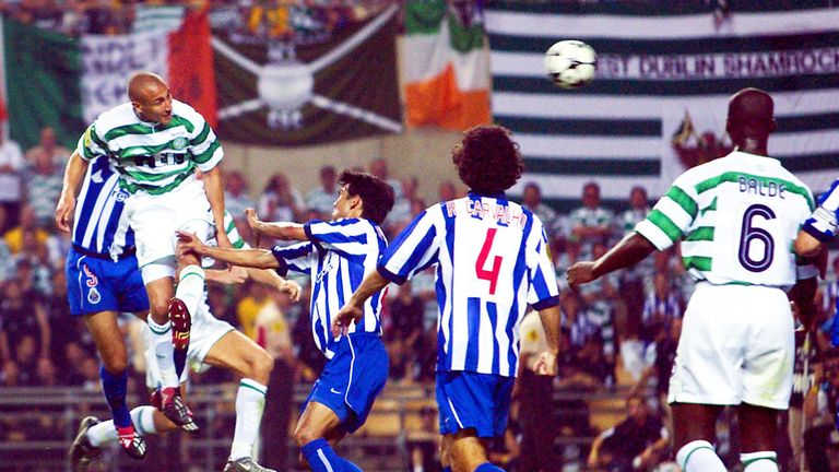 Henrik Larsson scoring for Celtic in the UEFA Cup final against Porto in 2003