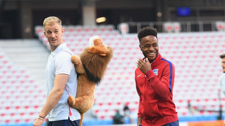 Joe Hart and Raheem Sterling were in good spirits at the Allianz Riviera Stadium on Sunday