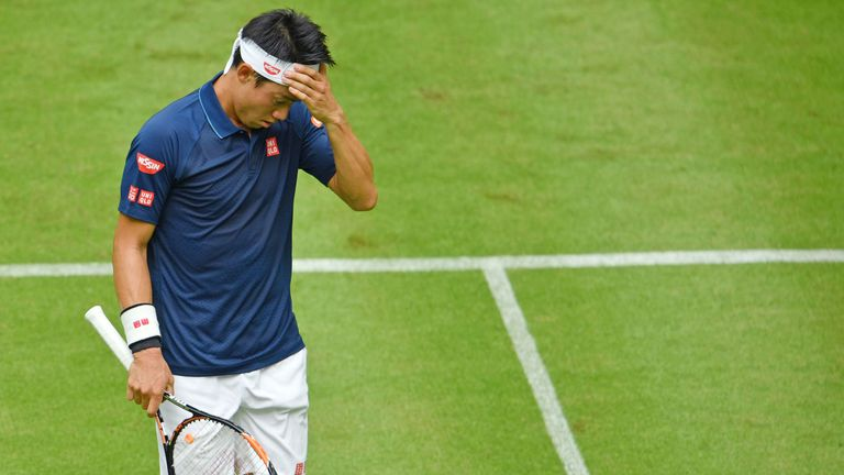 Kei Nishikori during his first-round match in Halle