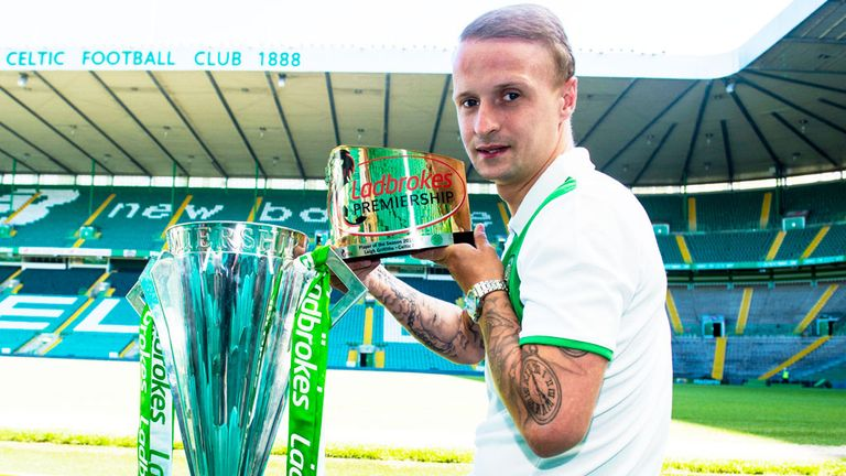 Griffiths with his latest award and the Scottish Premiership trophy