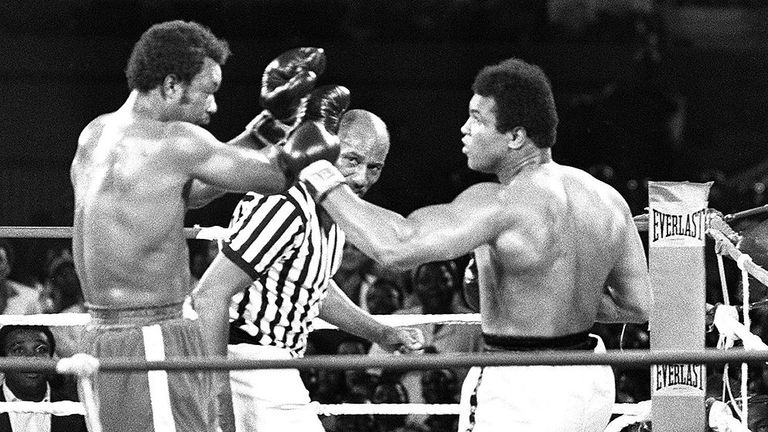 Ali pounces off the ropes to finish Foreman in the eighth round