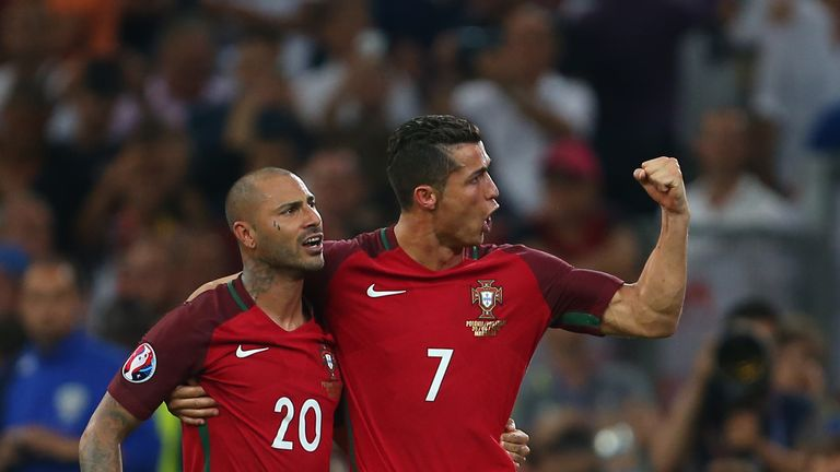 Ricardo Quaresma and Cristiano Ronaldo celebrate Portugal's penalty shoot-out victory over Poland