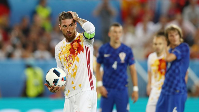 Sergio Ramos missed the chance to put Spain 2-1 up from the spot