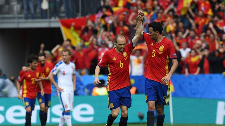 Spain supporters chanted Andres Iniesta's name as he left the field in Toulouse